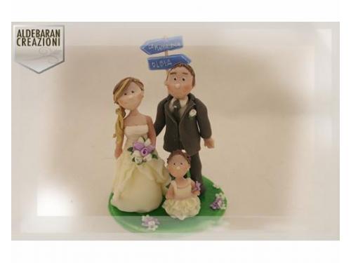 Cake topper per sposi con figli