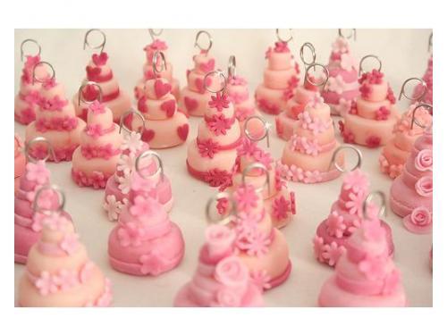 Segnaposto portafoto tortine rosa con decori, fatte tutte a mano, senza stampo.