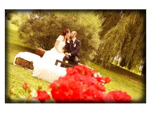 Gli sposi in un giardino tra i fiori