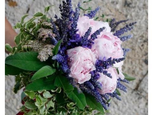 Bouquet di peonie rosa e rametti di lavanda