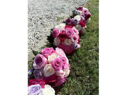 Sfere di rose fucsia e viola lungo il giardino