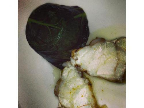 Scaloppa di rana pescatrice con salsa al franciacorta e tortino di biete