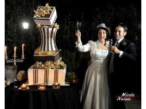 Gli sposi insieme alla wedding cake