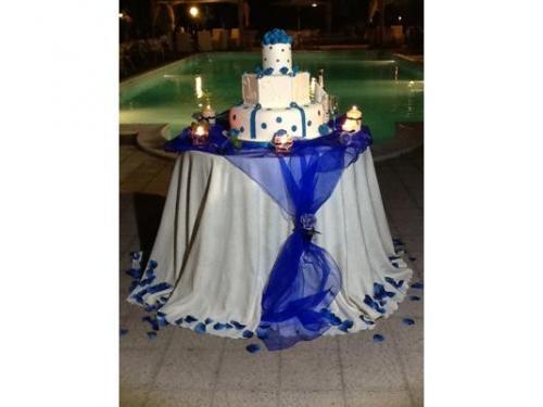 Bianco e blu per la torta