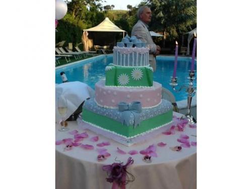 Quattro piani colorati di torta nuziale